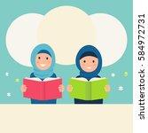 muslim girls wearing hijabs... | Shutterstock .eps vector #584972731