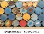colorful heap of oil barrel | Shutterstock . vector #584978911