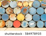 colorful heap of oil barrel | Shutterstock . vector #584978935