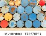 colorful heap of oil barrel | Shutterstock . vector #584978941