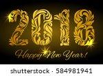 happy new year 2018. the golden ... | Shutterstock .eps vector #584981941