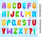 colorful type font set and... | Shutterstock .eps vector #584982355