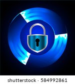 safety concept  closed padlock... | Shutterstock .eps vector #584992861