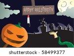 happy halloween cartoon vector | Shutterstock .eps vector #58499377