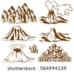 mountains and volcano on white... | Shutterstock .eps vector #584994139