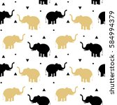 cute black and gold elephants... | Shutterstock .eps vector #584994379