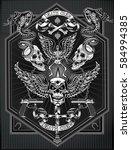 vintage label. skull and... | Shutterstock .eps vector #584994385