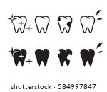 tooth icons set. black on a... | Shutterstock .eps vector #584997847