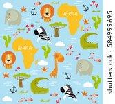 vector background africa with... | Shutterstock .eps vector #584999695