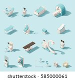 vector isometric low poly... | Shutterstock .eps vector #585000061