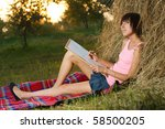 lovely girl having rest and... | Shutterstock . vector #58500205