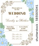 wedding invitation with flowers ... | Shutterstock .eps vector #585005041