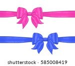pink and blue ribbon on white.... | Shutterstock .eps vector #585008419