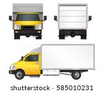 yellow truck template. cargo... | Shutterstock .eps vector #585010231