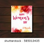 women's day  8 march greeting... | Shutterstock .eps vector #585013435