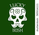ireland traditional logo design ... | Shutterstock .eps vector #585016111