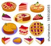 homemade organic pie dessert... | Shutterstock .eps vector #585018355