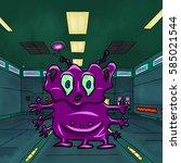crazy strange space alien or... | Shutterstock . vector #585021544