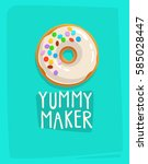 trendy style cartoon donut into ... | Shutterstock .eps vector #585028447