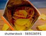 Potato Chips In Bag And Outsid...