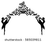 ballet dancers and rose flowers ... | Shutterstock . vector #585039811