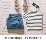 flat lay women fashion. trendy... | Shutterstock . vector #585046849