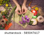 graceful hands of the woman... | Shutterstock . vector #585047617