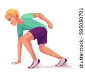 young and handsome male runner  ... | Shutterstock .eps vector #585050701