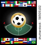 Composition with corner zone and soccer ball, pretending to be a medal. - stock photo