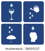 Environment pictograms series: icons composition about water care importance. - stock photo