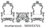 rich baroque rococo armchair... | Shutterstock .eps vector #585053701