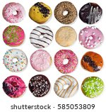 set of donuts with filling... | Shutterstock . vector #585053809