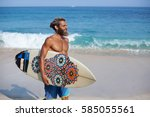 bearded surfer with a surfboard ... | Shutterstock . vector #585055561