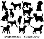 collection of silhouettes of... | Shutterstock .eps vector #585060049