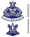 muscular rhino mascot show his...