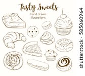 vector set with pasty goods... | Shutterstock .eps vector #585060964