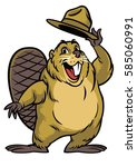 cartoon of beaver wearing a hat ... | Shutterstock .eps vector #585060991