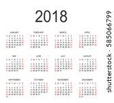 calendar 2018 year vector... | Shutterstock .eps vector #585066799
