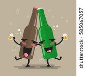 two drunk beer glasses... | Shutterstock .eps vector #585067057