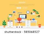 flat room interior template of... | Shutterstock .eps vector #585068527