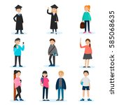 people in university set with... | Shutterstock .eps vector #585068635