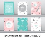 set of baby shower card on... | Shutterstock .eps vector #585075079