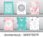 set of baby shower card on... | Shutterstock .eps vector #585075079