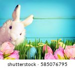 easter bunny and easter eggs.... | Shutterstock . vector #585076795