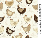 seamless pattern with chicken... | Shutterstock .eps vector #585080071