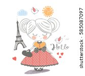 little girl in paris. hand... | Shutterstock .eps vector #585087097