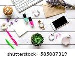 female wooden desktop with...   Shutterstock . vector #585087319