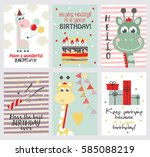 set of cute happy birthday card ... | Shutterstock .eps vector #585088219