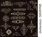 vector set of golden vintage... | Shutterstock .eps vector #585099589