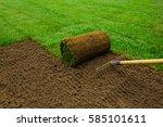 gardener applying turf rolls in ... | Shutterstock . vector #585101611